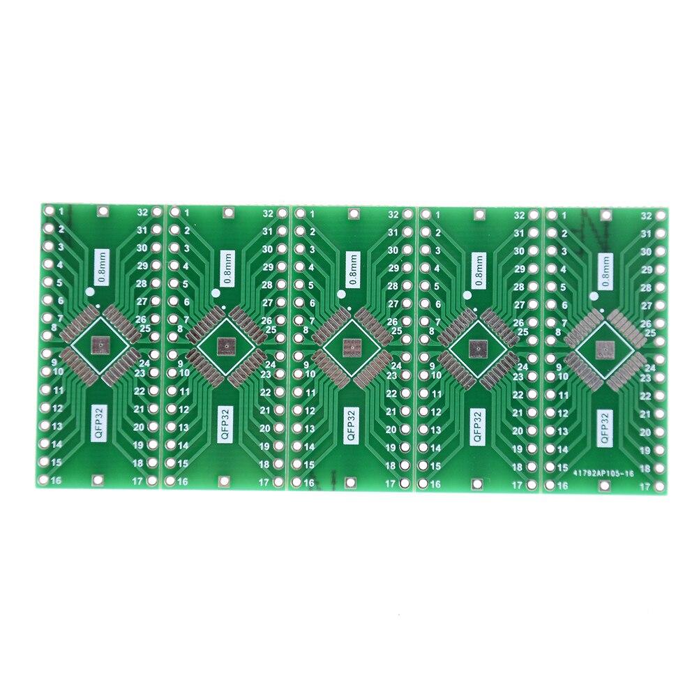 5Pcs TQFP/LQFP/EQFP/QFP32 0.8mm To DIP32 Adapter PCB Board Converter