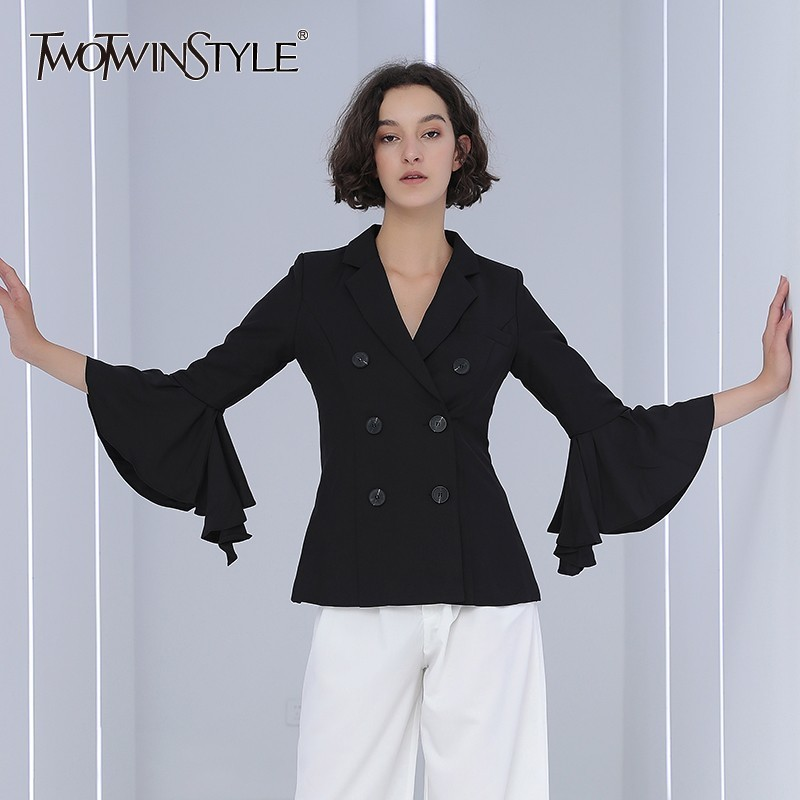 TWOTWINSTYLE Flare Sleeve Women's Blazer Ruffles Patchwork Double Breasted Female Jacket Fashion 2019 Autumn Casual Clothes OL