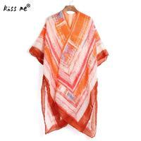 2017 nieuwe Vrouwen Lange Vest oranje geometrische gedrukt Zwemmen Cover Ups vestidos sexy badpak strand tuniek jurk voor badmode