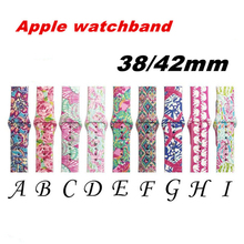 Brand Soft Silicone Watchband For iwatch Strap Apple Watch Band 38mm 42mm 1/2/3/4 Series Printing Flower Style iwatch 40mm 44mm