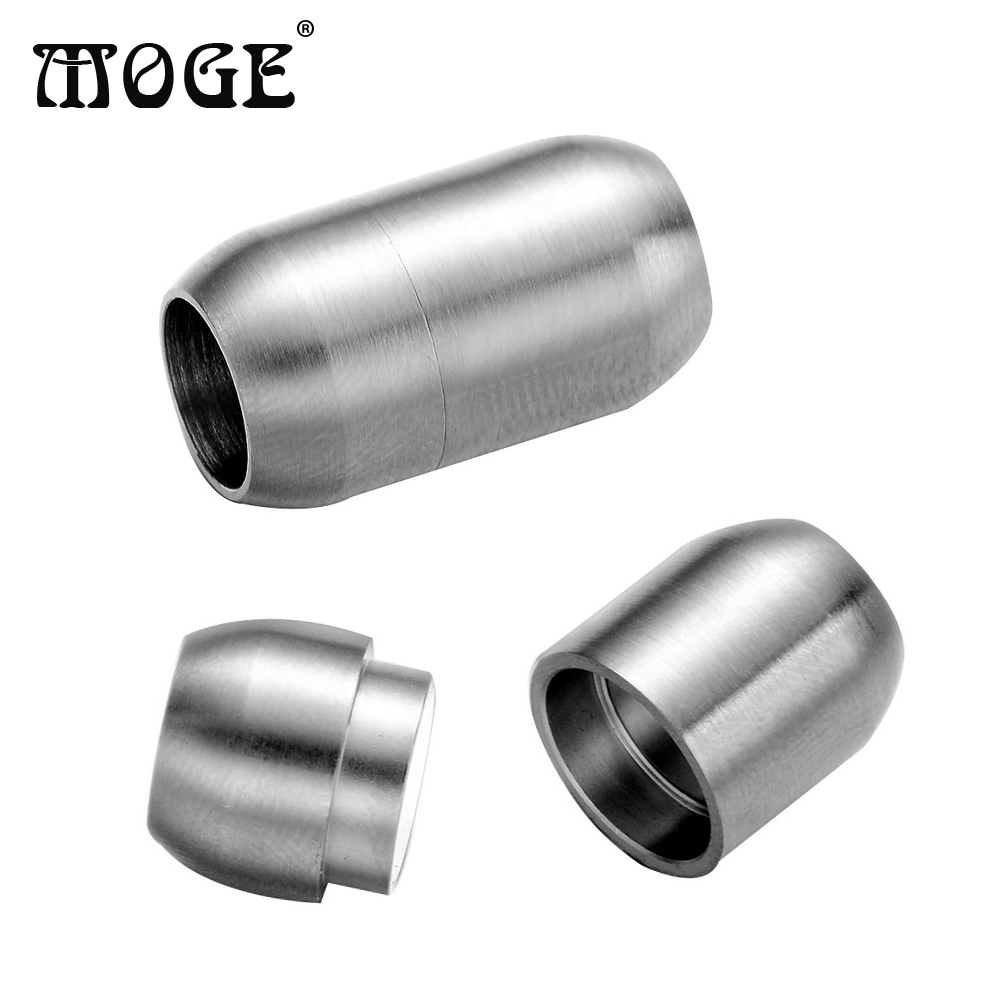 MOGE 10pcsLot 8mm 316L Stainless Steel Buckle Magnetic Clasp Jewelry Findings For Leather Bracelet Magnetic Clasp DIY Jewelry