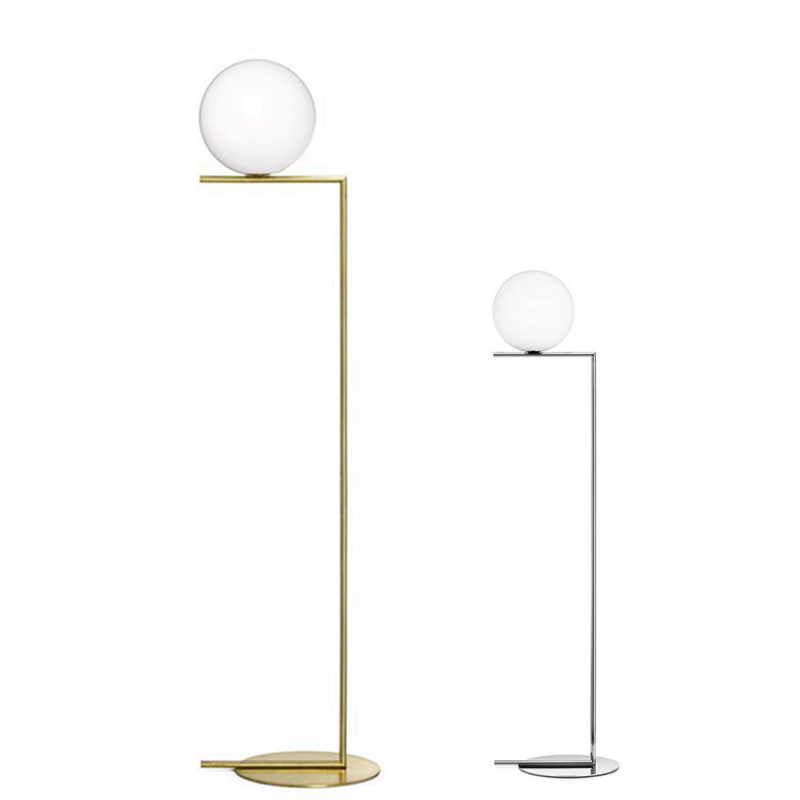 Creative simple floor lamps glass ball standing lamp chrome gold for living room bedroom new design art home decoration lighting modern wooden floor lamps bookshelf floor stand lights tea table standing lamp living room bedroom locker nightstand lighting