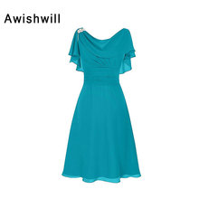 New Arrival Elegant Turquoise Mother of the Bride Dress Short Sleeves Beading Chiffon Women Formal Evening Party Gown Short