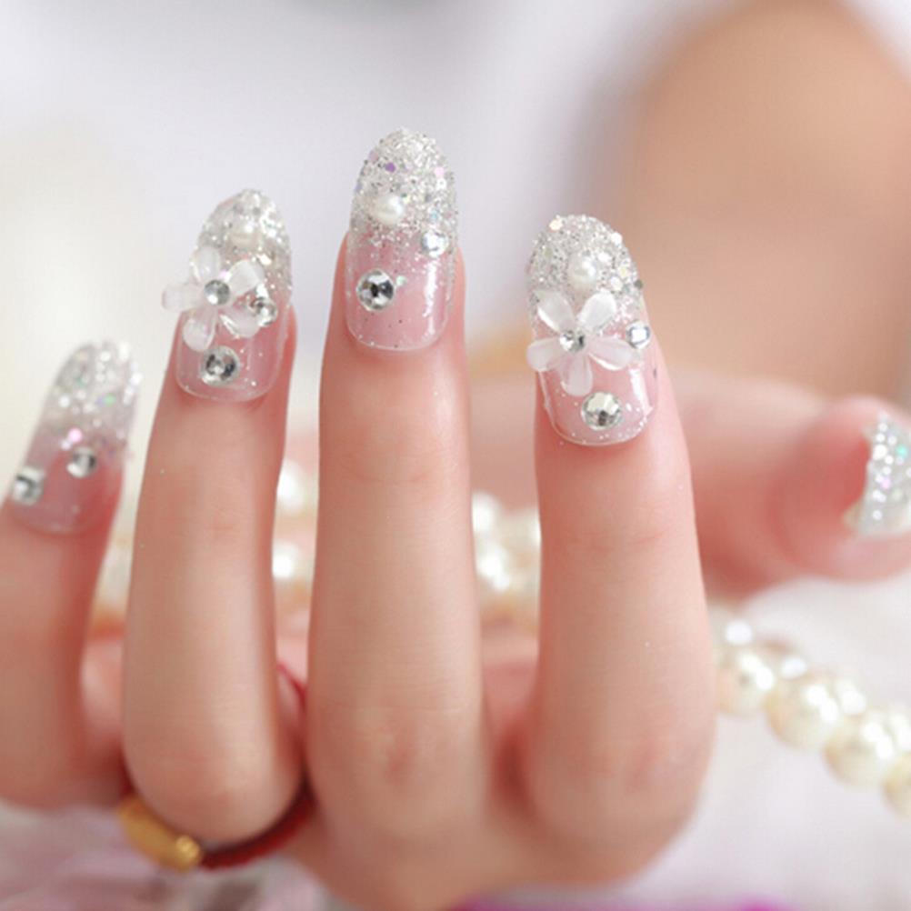False Nails Cute Flash Diamond Full Cover Nail Transparent 3D fake ...