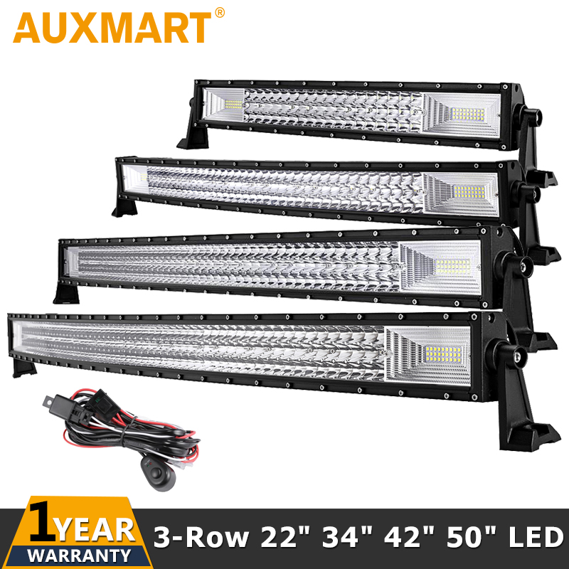 Auxmart 3-Row 22 34 42 50 Straight Curved LED Light Bar 4x4 SUV Pickup Truck Car Roof Driving Offroad LED Bar Lights 12v 24v
