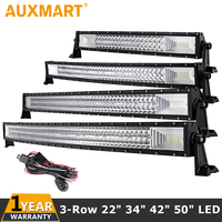 Auxmart 3 Row 22 34 42 50 Straight Curved LED Light Bar 4x4 SUV Pickup Truck Car Roof Driving Offroad LED Bar Lights 12v 24v