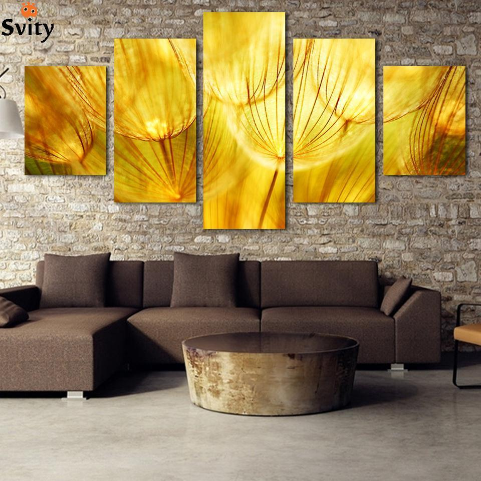 Cheap Art Decor: 5 Panel Wall Art Gold Flower Oil Painting On Canvas Quartz