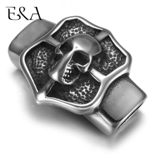 Stainless Steel Slider Beads Shield Skull 12*6mm Hole Slide Charms for Men Leather Bracelet Punk Jewelry Making DIY Supplies
