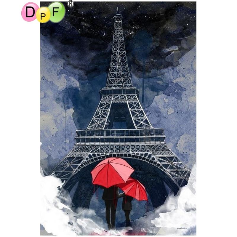 DPF DIY Holding hands in the rain 5D diamond mosaic square diamond embroidery crafts diamond painting cross stitch home decor