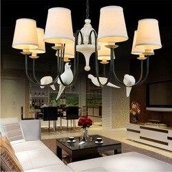 W stylu vintage retro loftowa ptaki lampa wisząca ptak z żywicy ptaka tkaniny klosz lampy do oświetlenie kuchenne lampa wisząca do jadalni