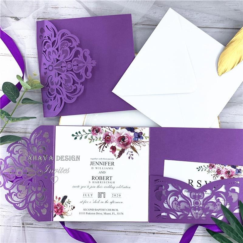 Invitations de mariage découpées au Laser de poche florale pourpre avec des nuances de Magenta d'automne classique-in Cartes et invitations from Maison & Animalerie    1
