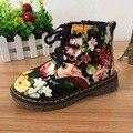 Botas 2016 Nova Moda Das Meninas bonitos Lrregular Floral Da Cópia Da Flor Crianças Sapatos de Bebê Crianças Botas de Couro Botas Martin Botas Casuais