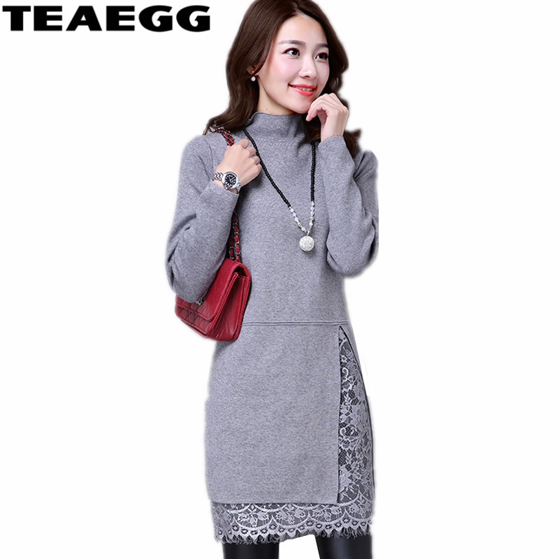 6f2fdd20cc4 black purple gray brown D automne Dentelle Red Mode Red Spéciale Pink 2019  Femme Robe Robes Manches Kintted Longues ...