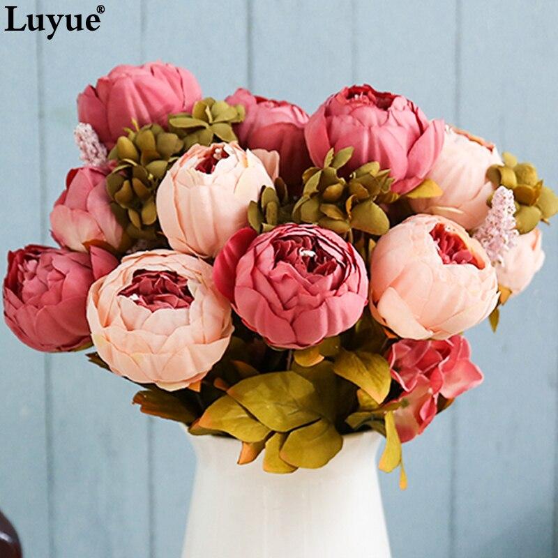 a5b36b0d6ff Luyue 13 Branch/Bouquet Artificial flowers Peony Vivid flores ...