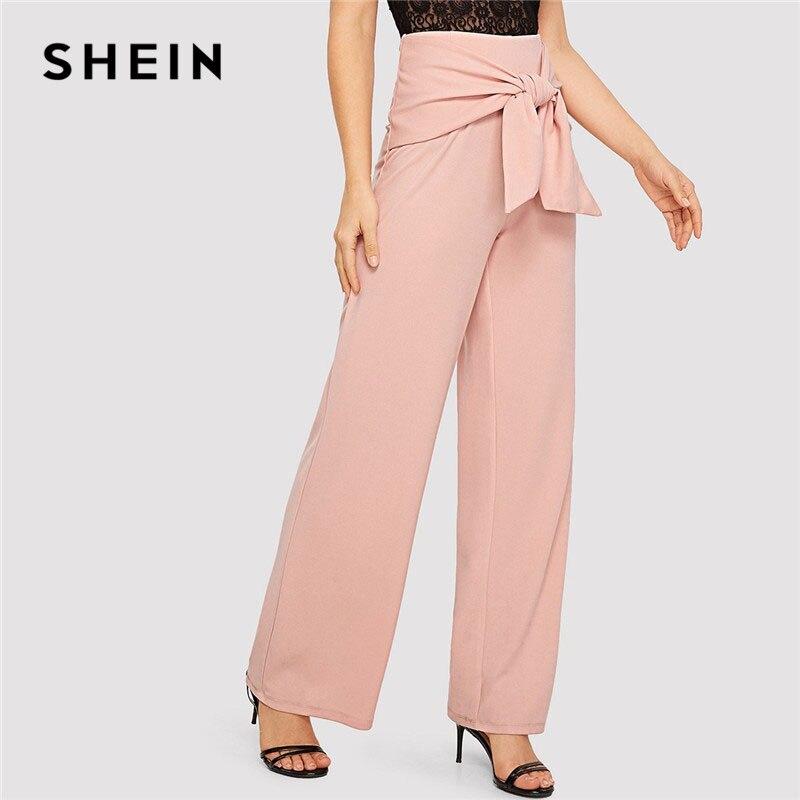 37b2fa4eb986 Aliexpress.com : Buy SHEIN Pink Knot Waist Women Long Wide Leg Pants Office  Lady Trousers Women Spring High Waist Workwear Elegant Pants from Reliable  Pants ...