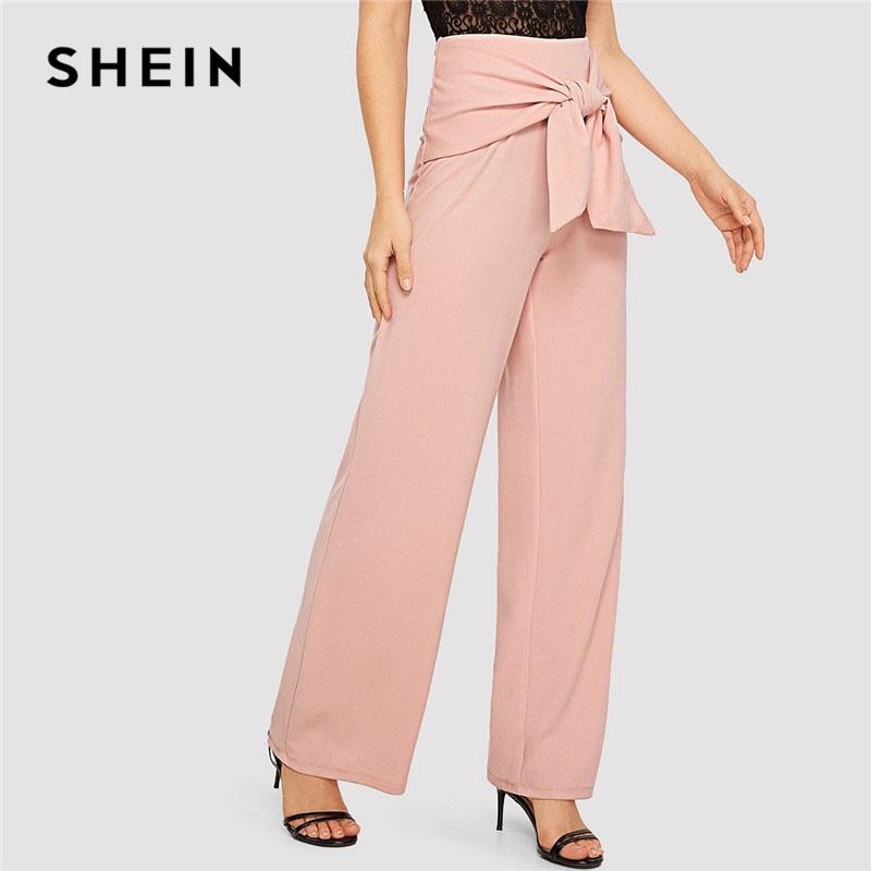 SHEIN Pink Knot Waist Women Long   Wide     Leg     Pants   Office Lady Trousers Women Spring High Waist Workwear Elegant   Pants