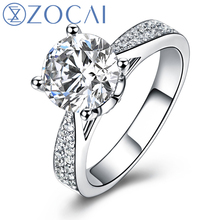 ZOCAI ring For Love Real 1.0 CT GIA Certified F-G/VS2 Round Cut Diamond Engagement Women Ring 18K White Gold (AU750) W03404