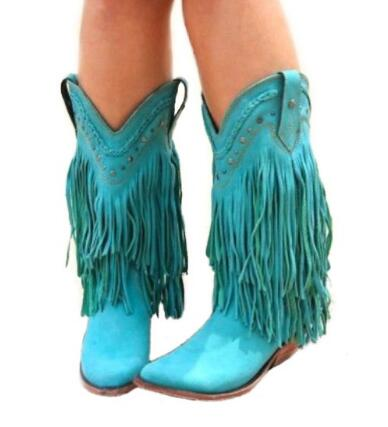 2018 Bohemia Gladiator Women Mid-calf Low Heel Motorcycle Boots Fringed Cowboy Boots Shoes Spring Autumn Women Tassel Boots gladiator lady mid calf cowboy flats boots shoes round toe fringed slip on fashion boots leather long sexy boots shoes free ship