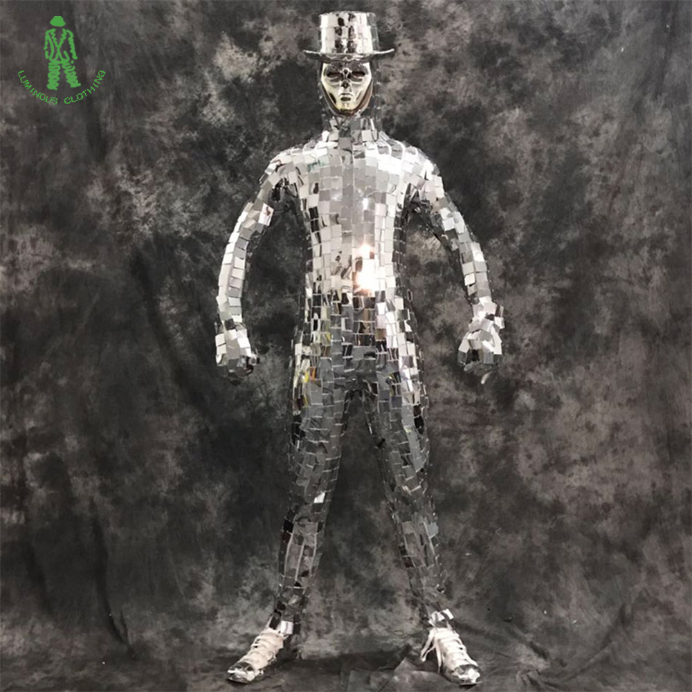 Free Shipping Jumpsuit Mirror Clothing Dazzling Fashion Costume Men Women Street Art Club Show Party Stage Dancer Robot Suit
