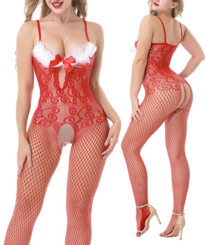 Women Christmas Attire Novelty & Special Use Open Erotic Lingerie Exotic Apparel Uniform Nightclub Red Jumpsuit Tight Suit 8976