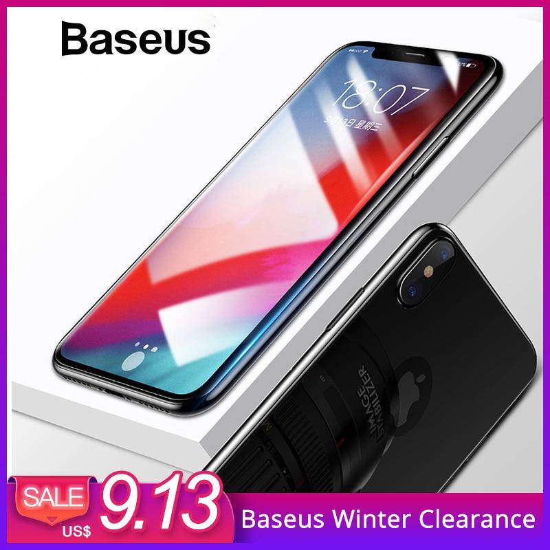 Baseus Protector de pantalla + atrás de vidrio templado para iPhone Xs Max XR 2018 protectora de cristal 9 H Delgado la cobertura completa de vidrio
