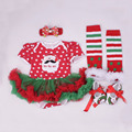 Christmas Style Baby Ruffle Jumpsuit Romper Clothes Girls Party Costume Toddler Romper Headband Leggings and Shoes Set LS003