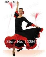 Free Shipping Women Lady Black Red Performance Skirt Flamenco Dance Costume Flamenco Dresses