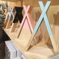 D Ins Nordic Style wood Trigon wall shelves Original Wooden Larger X Shape Storage Shelf Storage Shelves kids room DIY Decor