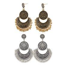 1 Pair Ethnic Bali Jhumka Jhumki Gold Brocade Lotus Mexico Gypsy Dangle Earring Fashion Jewelry Christmas Gifts