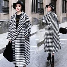 Зимнее женское длинное шерстяное пальто в клетку, Женское пальто в ломаную клетку