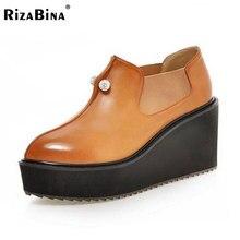 Rizabina femmes mode loisirs pompes bout pointu plate-forme chaussures appliques nouveau style à talons hauts talons chaussures p23099 taille 32-42