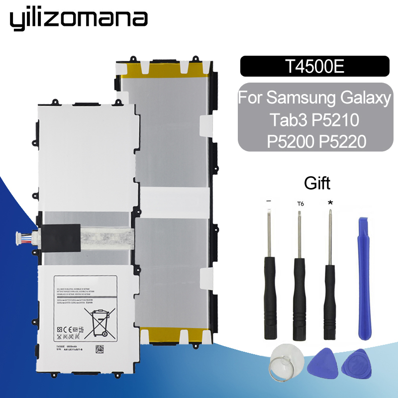 YILIZOMANA Replacement Tablet Battery T4500E For Samsung Galaxy Tab3 P5210 P5200 P5220 6800mAh+Tools