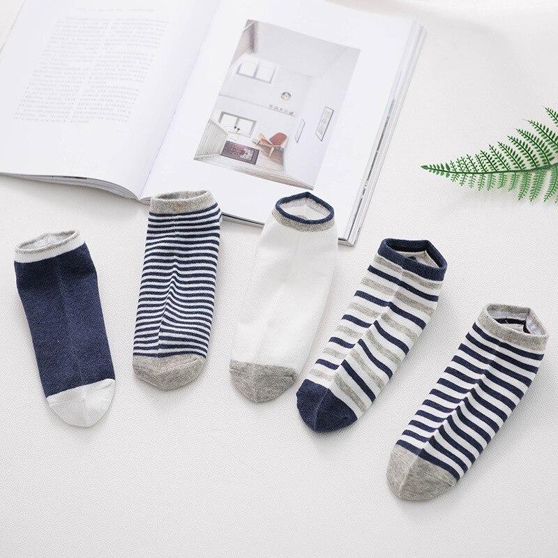 Men's socks in spring and summer, all cotton pinstriped men's short socks, boat socks SC009-5pairs