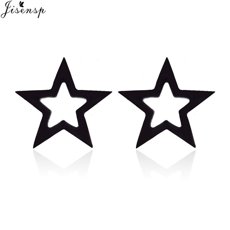 Jisensp Tiny Star Earrings for Women Punk Style Hollow out Geometric Stud Earrings Girls Korean Fashion Jewelry Gift oorbellen