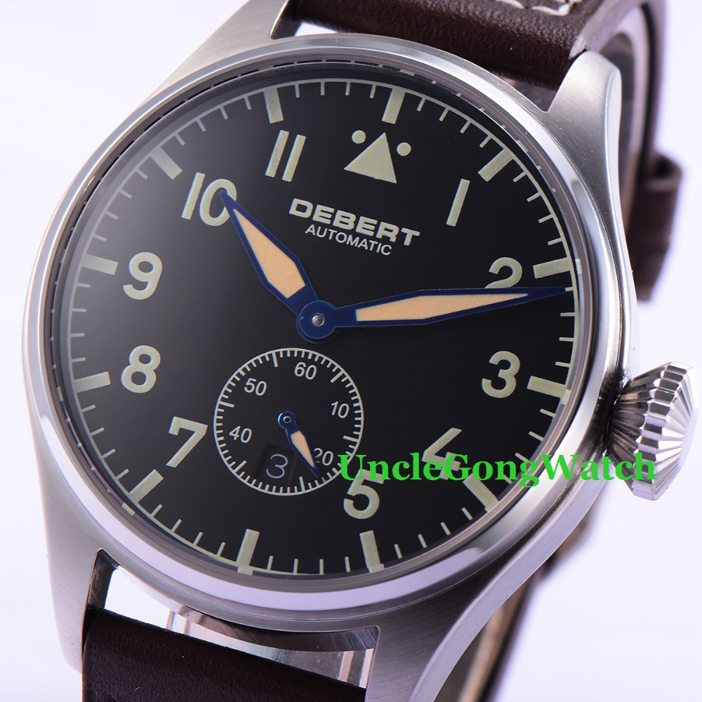 42mm DEBERT Luminous Black Dial Sapphire Glass Brown Leather Strap Automatic Mens Watches 42mm debert luminous black dial sapphire glass brown leather strap automatic mens watches