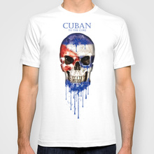 Cuba Bandiera Del Cranio di Nuovo Modo Uomo T-Shirt O Collo Mens Manica  Corta Da Uomo Maglietta Maschio Magliette e camicette Ma. d53eebaac252