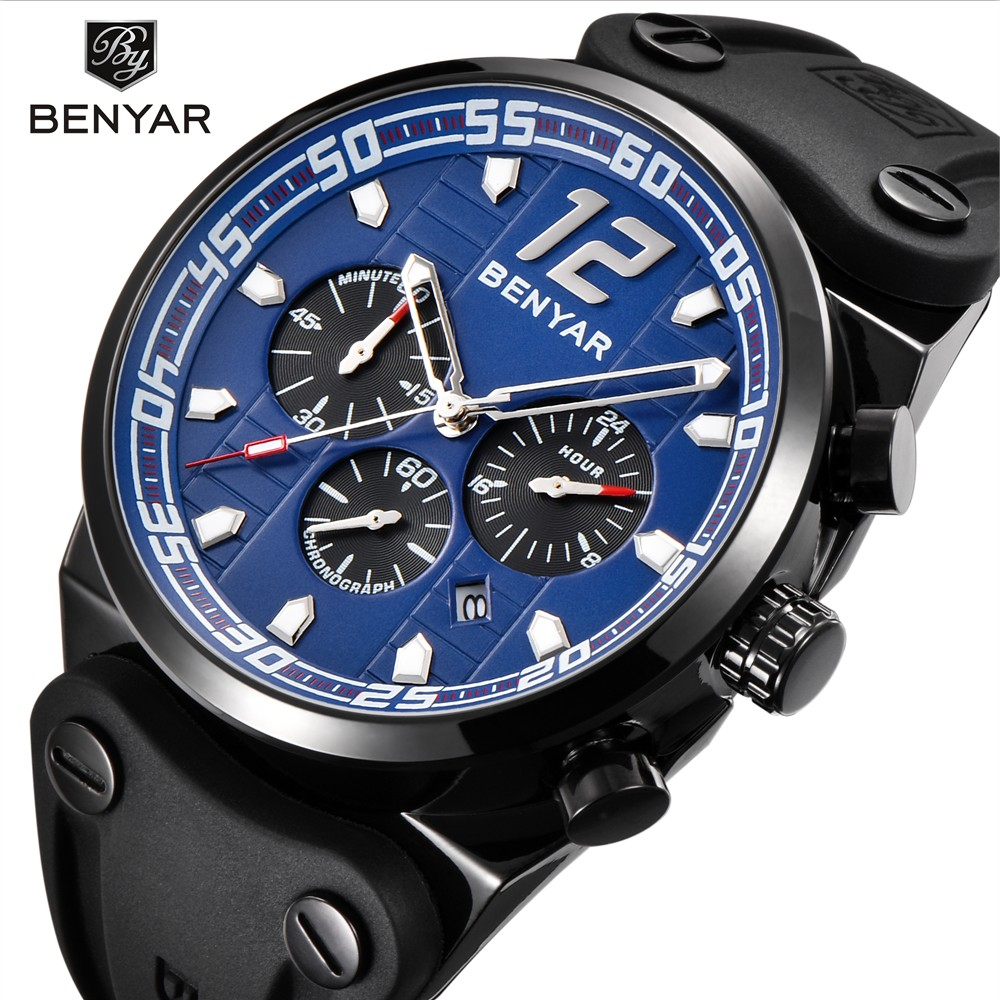 Benyar Sport Chronograph Mens Watches Top Brand Luxury Silicone Strap Quartz Watch Men Waterproof Male Clock Relogio Masculino reef tiger brand men s luxury swiss sport watches silicone quartz super grand chronograph super bright watch relogio masculino