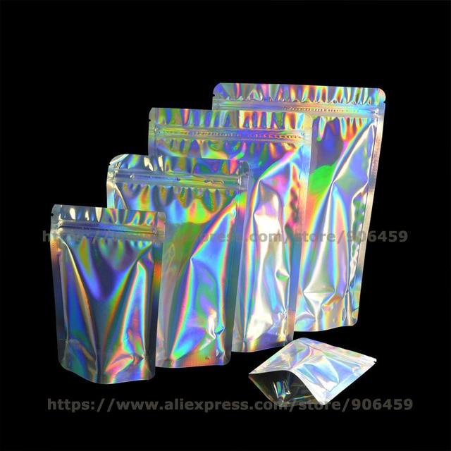 A Laser 100 pcs Value Pack Resealable Stand Up Zip Lock Saco Da Folha de Alumínio selo de holograma Auto Selo Saco Zipper Sacos De Plástico