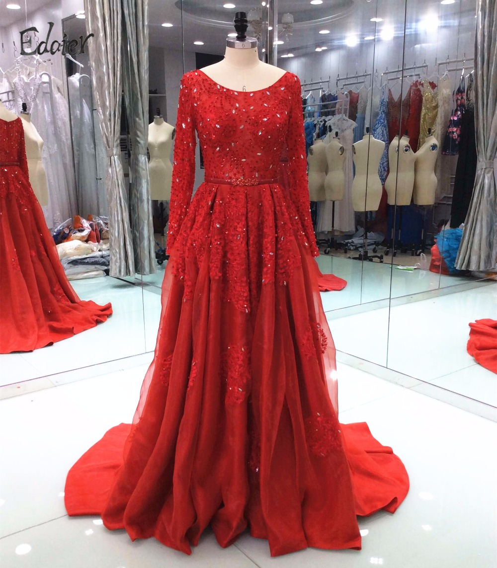 Elegant Red Prom Dresses 2018 Ball Gown Long Sleeves Lace Beaded Satin Long Evening Gown Party Prom Gown Vestido de Festa