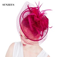 Linen Flowers Wedding Hats and Fascinators Bridal Hats with Face Veil Women's Formal Party Hair Accessories SH62