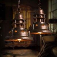 Винтаж кованого железа edison Медь подвесные светильники лампы промышленные металлические ресторан кафе кулон Освещение светильники