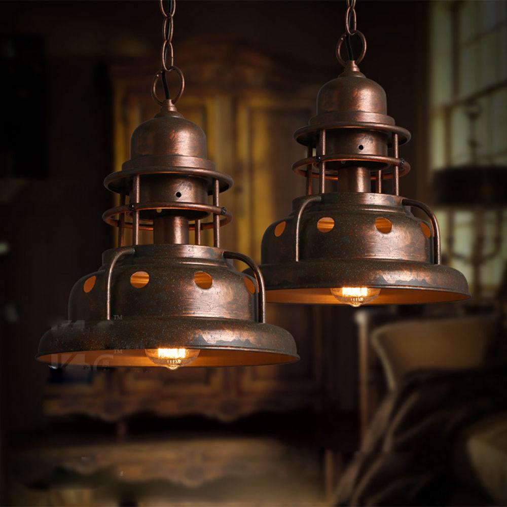 Industrial Lighting Restaurant: Vintage Wrought Iron Edison Copper Pendant Hanging Lights