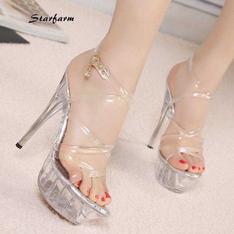 ФОТО 2016 New Clear PVC Heels Extreme High Thin Clear Heels Transparent Shoes Sexy Platform Pumps Crystal Sandals STARFARM-SFDX-008