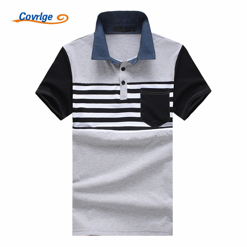 Covrlge High Quality Brand Fashion Men   Polo   Shirt New Summer Casual Striped Men's   Polo   Solid   Polo   Tee Shirt Men Clothing MTP090