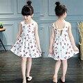 Nuevo 2017 de la moda de algodón Sólida base de cerezas de Color Rojo blanco azul vestido del Patrón del vestido de la muchacha niños del vestido de los niños vestidos.