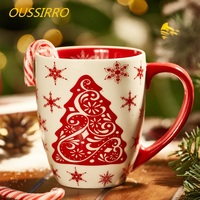 OUSSIRRO 550ml Mass Capacity Ceramic Mug Creative Christmas Tree Design Cup Mug Coffee Mug Milk Tea Office Cups Best Gifts