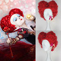 New Movie Alice in Wonderland Red Queen Wig Women Short Curly Red Cosplay Full Wig