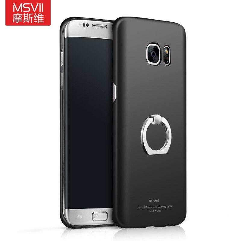 Msvii бренд для Samsung Galaxy S7 край + чехол для телефона с палец кольцо держатель Жесткий Чехол-подставка полная черный Кронштейн В виде ракушки S7edge
