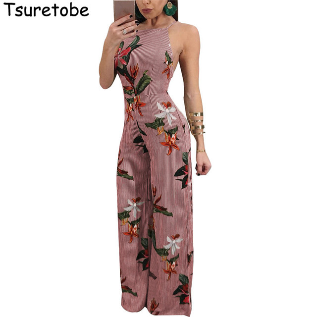 7b3ebc1a02f0 Tsuretobe Fashion Women Floral Jumpsuits Wide Leg Summer Beach Overalls  Casual Striped Rompers Backless Printed Jumpsuit