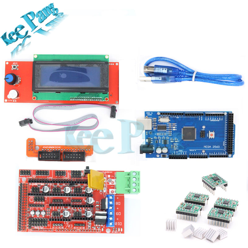 Nuevo Kit de Impresora 3D RAMPAS 2004 Controlador LCD + MEGA 2560 R3 + A4988 Con